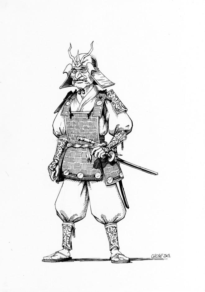 Coloriage et dessins gratuits Samourai réaliste à imprimer