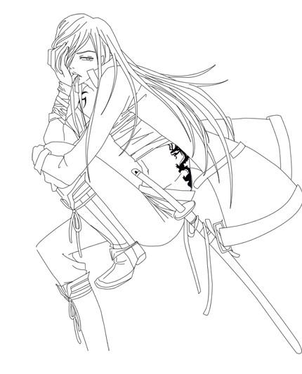 Coloriage et dessins gratuits Samourai stylisé à imprimer