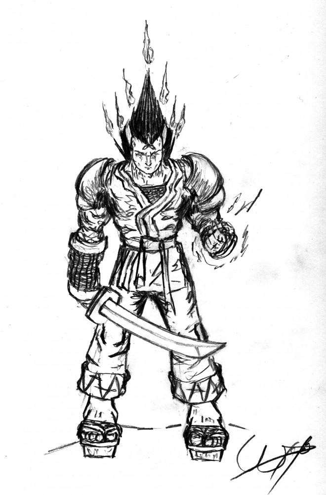 Coloriage et dessins gratuits Un Guerrier Samourai au crayon à imprimer