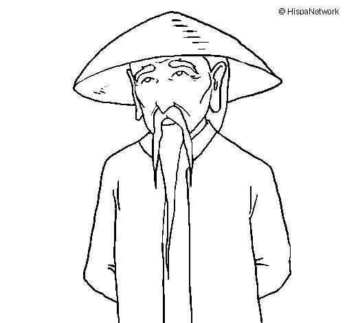 Coloriage et dessins gratuits Un Vieil Japonais à imprimer