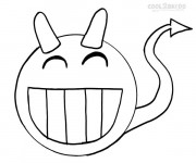 Coloriage Smiley Démon stylisé