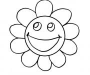 Coloriage Smiley Fleur