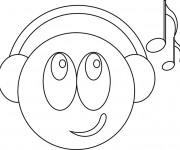 Coloriage et dessins gratuit Smiley musique à imprimer