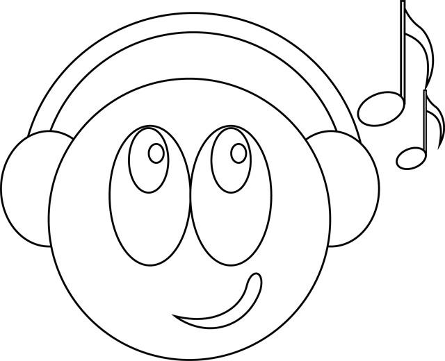 Coloriage smiley musique dessin gratuit imprimer - Smiley a imprimer ...