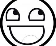 Coloriage Smiley Rire en noir