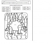 Coloriage Addition magique dinosaure