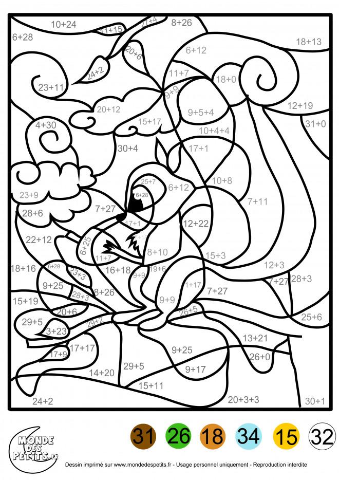 Coloriage et dessins gratuits Addition magique écureuil à imprimer