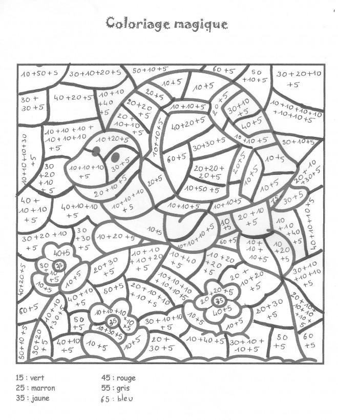 Coloriage et dessins gratuits Magique Addition de Tortue à imprimer