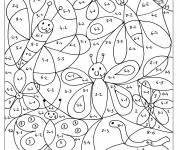 Coloriage et dessins gratuit Magique Soustraction papillons et fleurs à imprimer