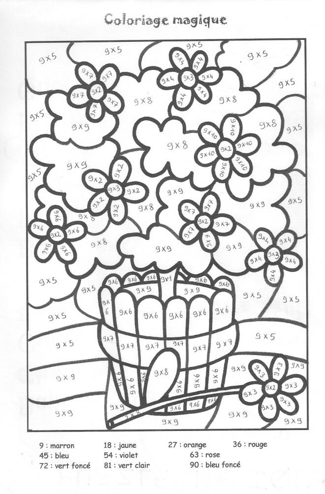 Coloriage et dessins gratuits Multiplication Vase de Fleur à imprimer