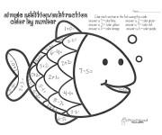 Coloriage et dessins gratuit Soustraction Poisson à imprimer