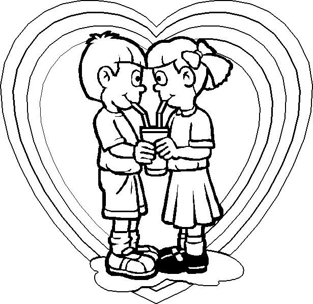 Coloriage et dessins gratuits Amour d'enfance à imprimer
