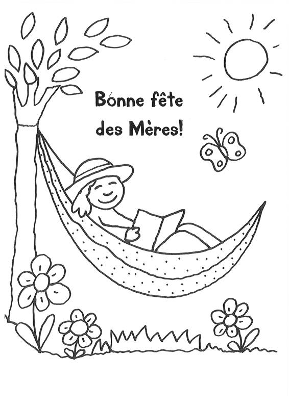 Coloriage et dessins gratuits Bonne Fête des Mères au soleil à imprimer