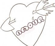 Coloriage et dessins gratuit Coeur d'amour brisé par Flèche à imprimer