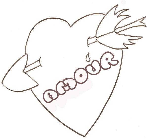 Coloriage et dessins gratuits Coeur d'amour brisé par Flèche à imprimer