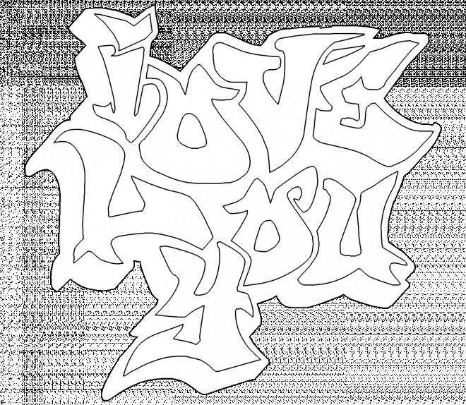 Coloriage et dessins gratuits Graffiti I Love You à imprimer