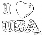 Coloriage I Love USA