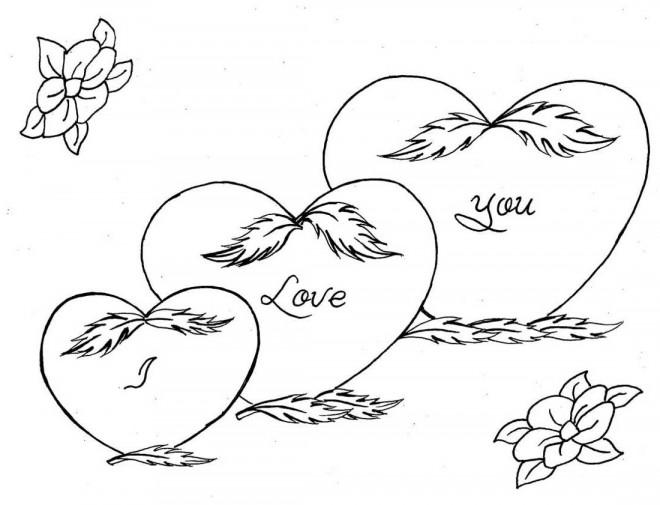 Coloriage et dessins gratuits I Love You en Coeur à imprimer