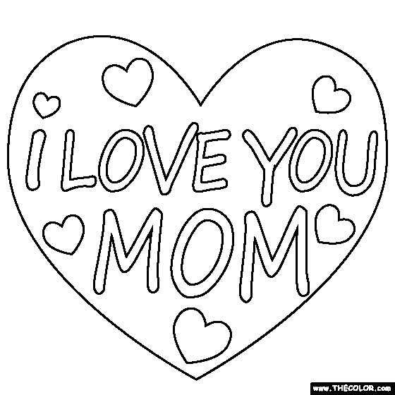Coloriage et dessins gratuits I Love You Mom à imprimer