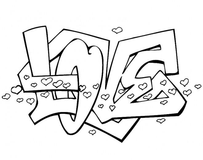 Coloriage love graffiti dessin gratuit imprimer - Coloriage graffiti ...