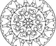 Coloriage et dessins gratuit Mandala de coeurs à imprimer