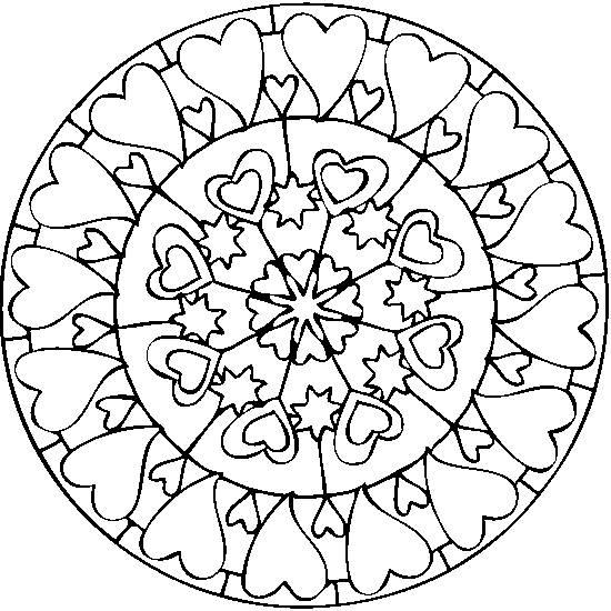 Coloriage et dessins gratuits Mandala de coeurs à imprimer
