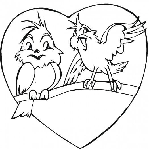 Coloriage et dessins gratuits Oiseaux amoureux à imprimer