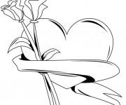 Coloriage et dessins gratuit Rose et Coeur à imprimer