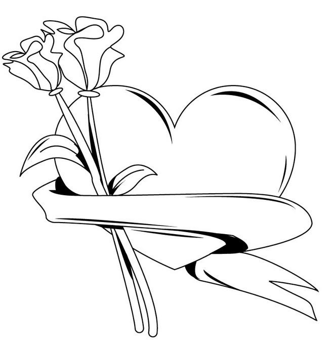 Coloriage et dessins gratuits Rose et Coeur à imprimer