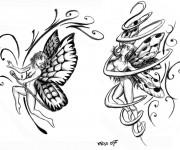 Coloriage Papillon en Tatouage adulte