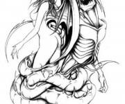Coloriage Tatouage Adulte La belle et Le Monstre