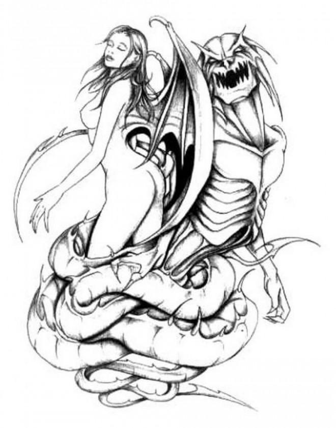 Coloriage et dessins gratuits Tatouage Adulte La belle et Le Monstre à imprimer
