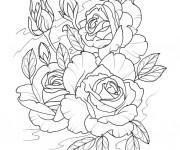 Coloriage Tatouage Bouquet de Fleurs