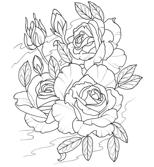 Coloriage et dessins gratuits Tatouage Bouquet de Fleurs à imprimer