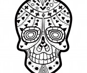 Coloriage Tatouage Crâne décoré
