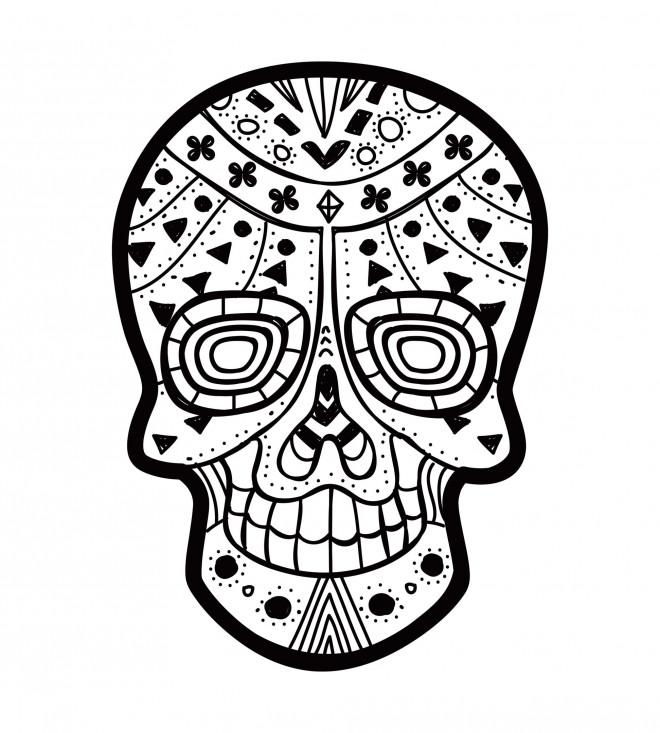 Coloriage et dessins gratuits Tatouage Crâne décoré à imprimer