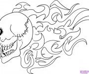 Coloriage Tatouage Crâne en Flamme