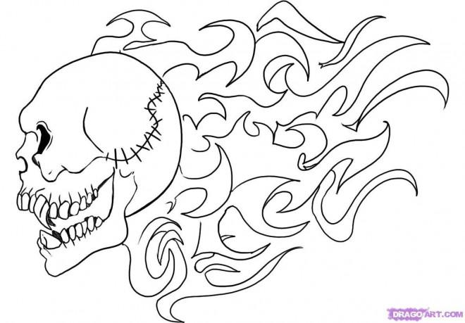 Coloriage et dessins gratuits Tatouage Crâne en Flamme à imprimer