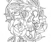 Coloriage Tatouage Crane et Roses