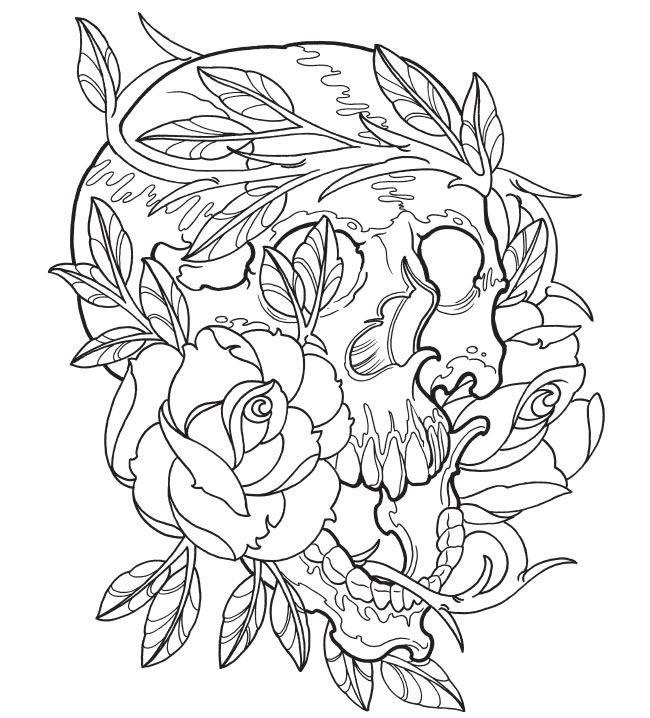 Coloriage et dessins gratuits Tatouage Crane et Roses à imprimer