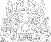 Coloriage Tatouage de Crâne à télécharger