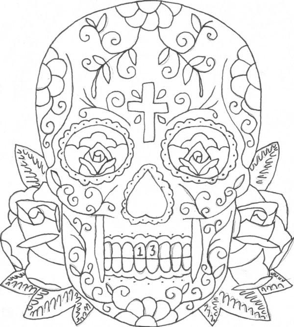 Coloriage et dessins gratuits Tatouage de Crâne à télécharger à imprimer