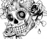 Coloriage et dessins gratuit Tatouage de Crâne Fleuri à imprimer