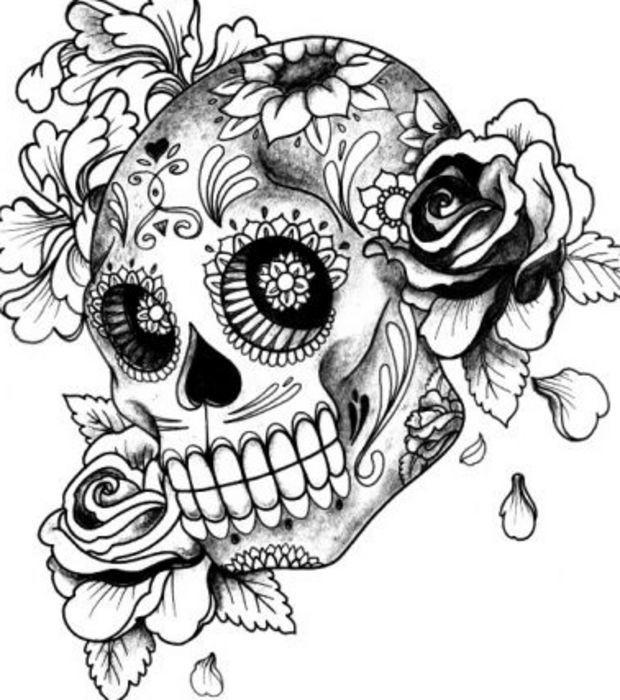 Coloriage Tatouage De Crane Fleuri Dessin Gratuit A Imprimer
