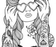 Coloriage Tatouage de Femme adulte