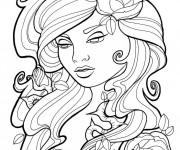 Coloriage Tatouage de Femme en vecteur