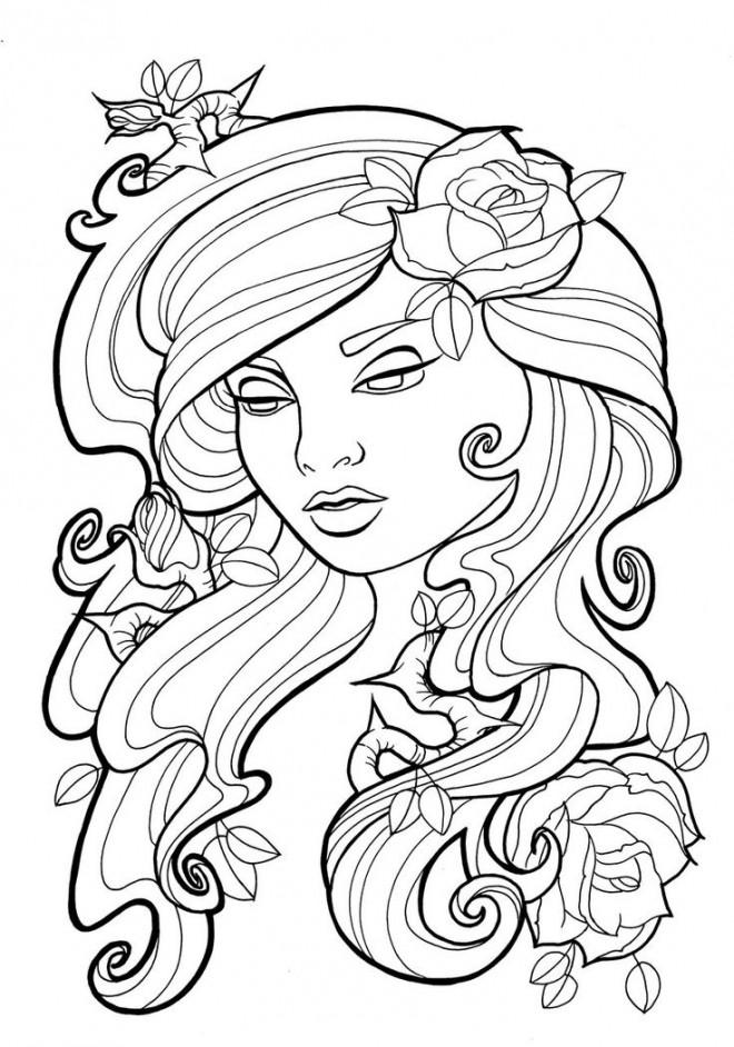 Coloriage et dessins gratuits Tatouage de Femme en vecteur à imprimer