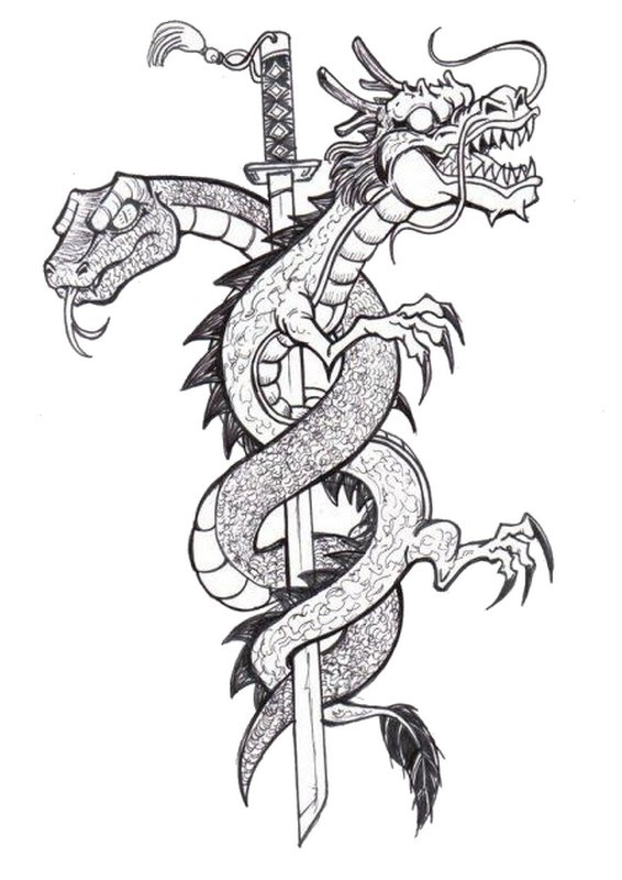 Dessin Dragon Tatouage coloriage tatouage dragon dessin gratuit à imprimer