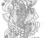 Coloriage Tatouage Dragon chinois