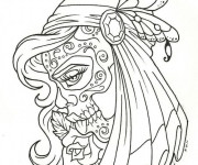 Coloriage Tatouage Fille à colorier